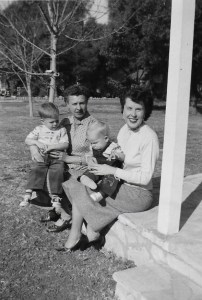 FROM LEFT to RIGHT: Drew, Jewell, Mitch and Arlou Mashburn sitting on the front porch of Jewell's S. Lomita Avenue home in Meiners Oaks on the morning of January 1, 1954.