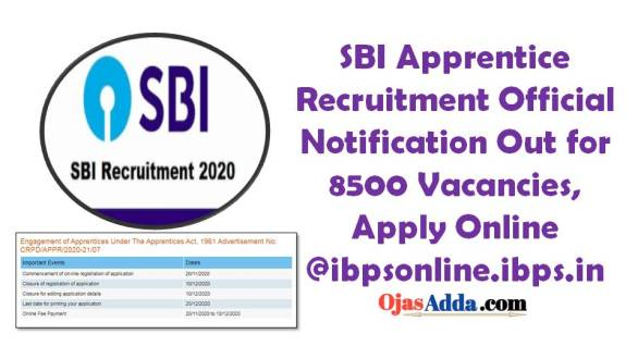 SBI Apprentice Recruitment Official Notification Out for 8500 Vacancies, Apply Online @ibpsonline.ibps.in