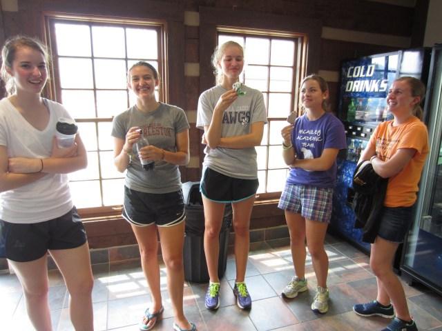 The McAuley girls enjoy the ambiance of the vending machine room.
