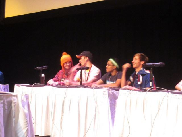 Ben, Will, Sameer, and Tullus (aka Captain Ohio) on stage for the Finals