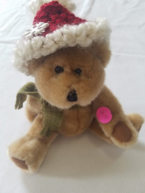 Posable Bear with hand knitted hat