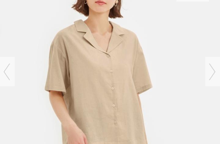 リネンブレンドオープンカラーシャツ5分袖
