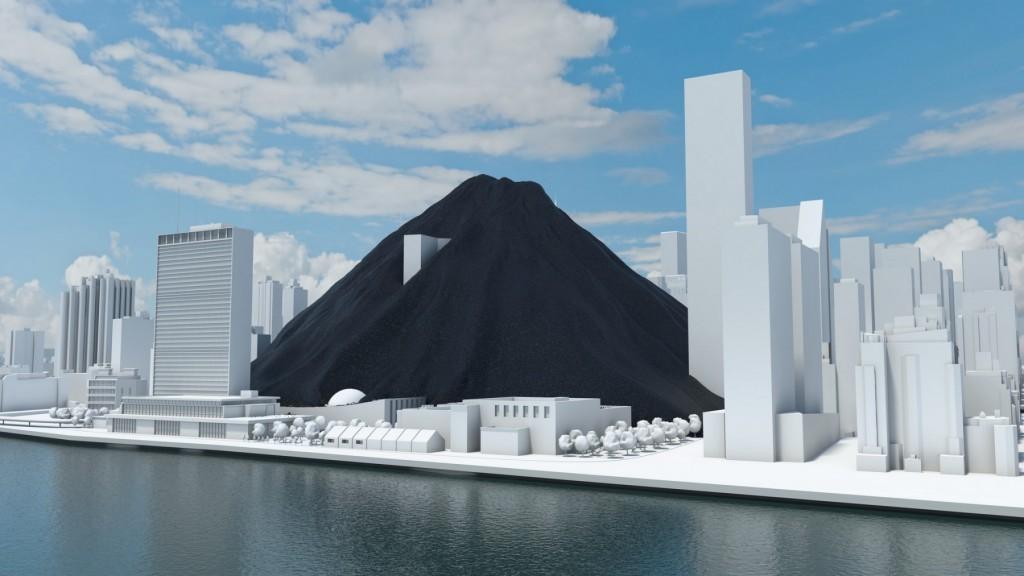 Esta visualización de Carbon Visual muestra una comparación entre la cantidad de carbón que consume a diario el mundo y los edificios de la ciudad de Nueva York. A la izquierda está el edificio de las Naciones Unidas.