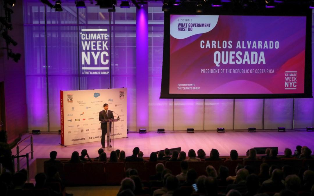 En Nueva York, Alvarado inauguró la Semana del Clima presentando su plan de descarbonización