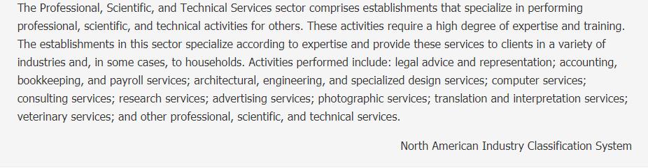 Professional, Scientific, and Technical Services Description