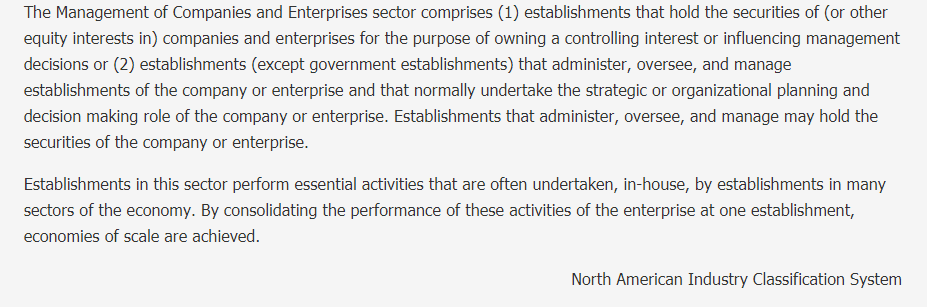 Management of Companies and Enterprises Description