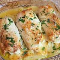 Rollitos de pollo rellenos de jamón y queso