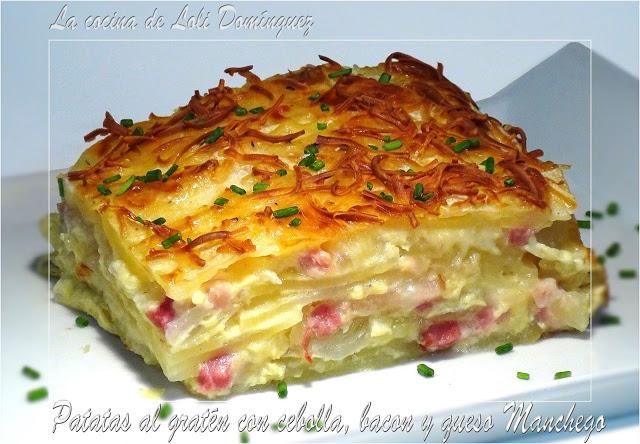 Patatas gratinadas con bacon y queso manchego