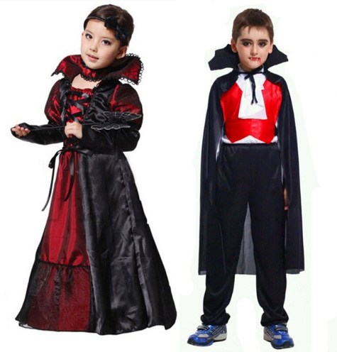 Halloween Girls Costumes Vampire Queen Children Costume Halloween Kids Black Lace Party Dress Necklace Set Boy Couple Clothing