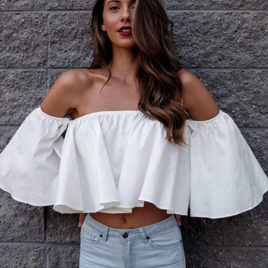 cute off shoulder white top