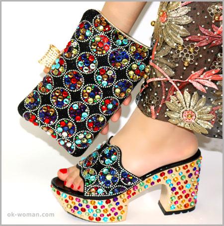 creative colored shoe sparkle diamond