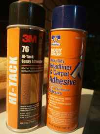 3M and Permatex spray on contact adhesive