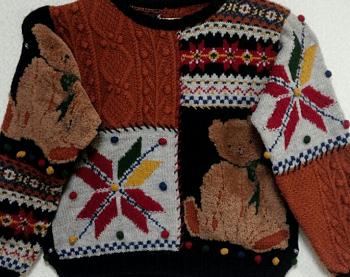 母の手作り ハンドメイド ニット テディベア セーター 手編み 手作り 編み物 くま