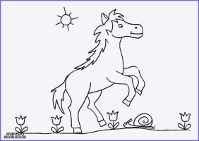 Ausmalbilder Pferde Einfach   Malvorlage Pferd Einfach ...