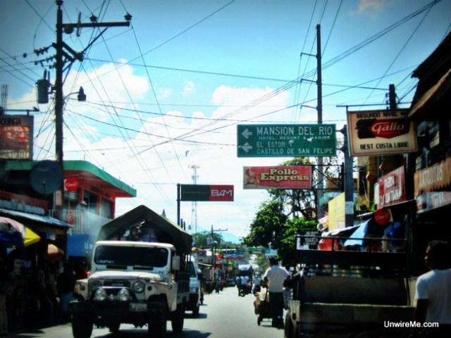 driving through Rio Dulce Guatemala