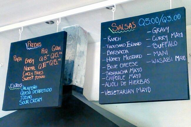 Menu of options at Patata Frites
