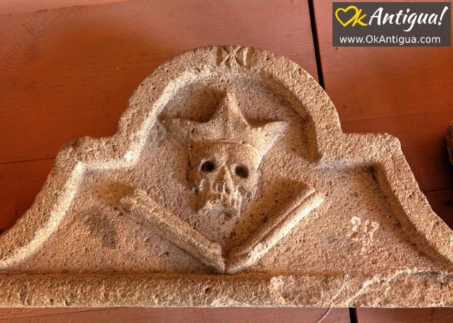 skull and bones sculpture at las capuchinas convent