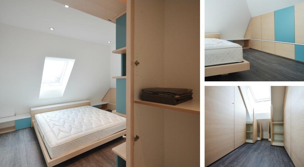 camera da letto in mansarda  Okap  Mobili su misura