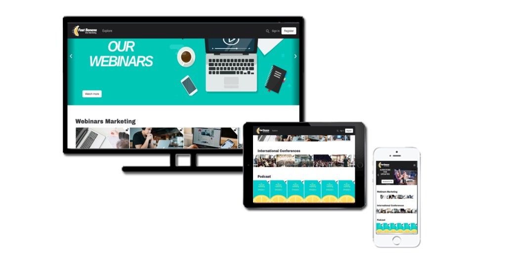 Corporate or brand video service displayed on a desktop or mobile applications