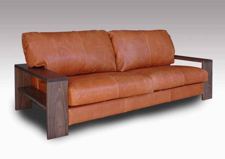 オイルレザーソファーの斜め写真