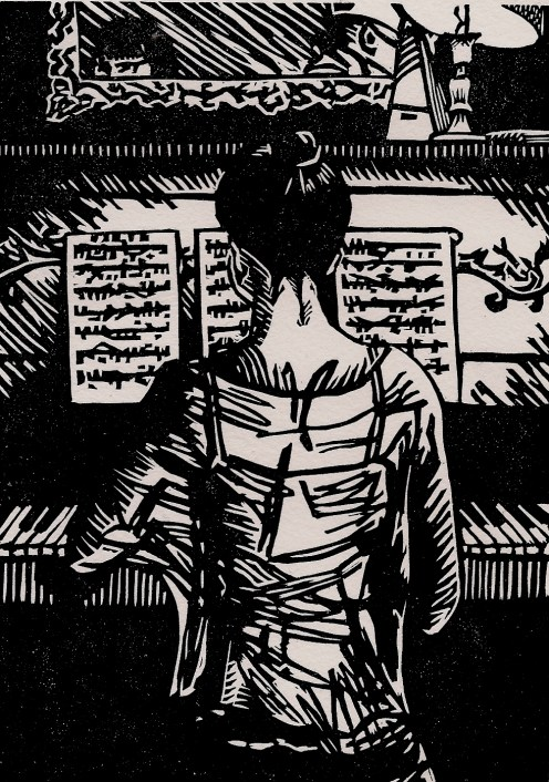 """""""Harriet at the Piano"""" Linocut, 4"""" x 6"""" 2013"""