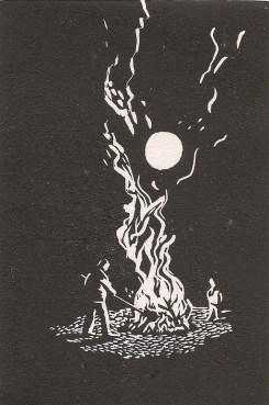 """Bonfire"" linocut, 3""x5"", 2013"