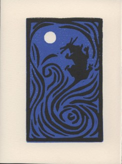 """Blue Mouse."" Linoleum block print. 2013."