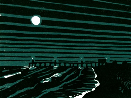 """Fishing Pier at Night."" Linocut, color reduction print. 3"" x 4"". 2015."