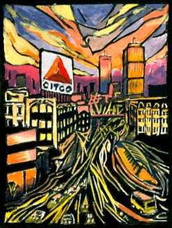 """Kenmore Square: Night."" Linoleum block print with gouache. 4"" x 3"". 2015."