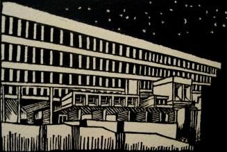 """Boston City Hall."" Linocut. 4 x 6"" 2015."