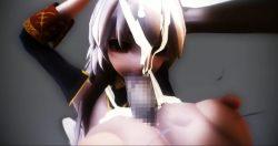 [MMD R18] 拘束された巨乳美女がパイズリ→イマラチオされ、大量にぶっかけられるエロ動画