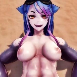 [Monster Girl Island] 筋肉がどエロいサメ娘とビーチでラブラブSEX!筋肉ズリやパイズリなど・・・ [3Dアニメ,エロゲ]