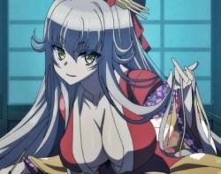 [エロアニメ] 巨乳な花魁に化けた銀髪妖狐が手マンで潮吹きアクメ&パイズリフェラでご奉仕!