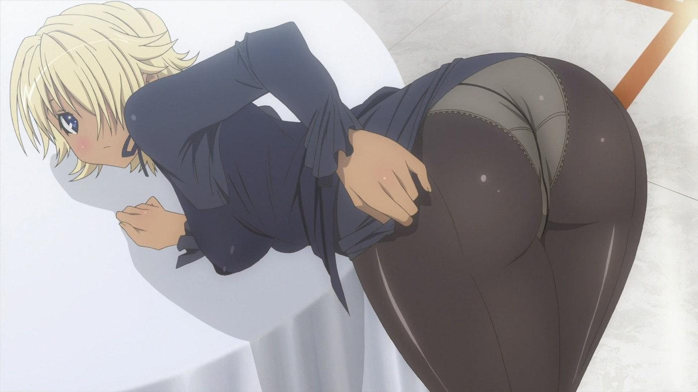 [エロアニメ] 金髪褐色娘がストリップでセクシーバトル!純白おパンツが褐色に映えますね♪