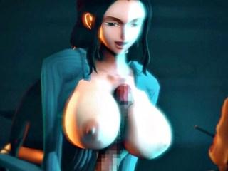 【ワンピース】ロビンが巨乳パイズリや騎乗位セックスするエロ動画 (SFM)