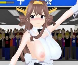 [艦これMMD] 金剛がおっぱいポロリを直せば直すほどスカートやエプロンが小さくなって行く!