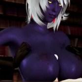 【3Dエロアニメ】ダークエルフの女王が短小チ〇ポ巨大化してバックで中出し・巨乳パイズリ!