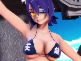 【MMD艦これ】天龍・龍田がエロビキニでおっぱい揺らしてダンス!ポロリはあるのか!?
