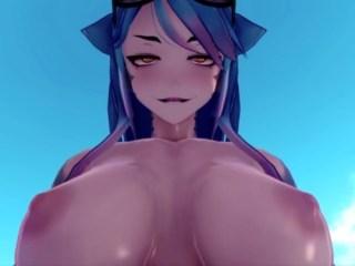 【Monster Girl Island】爆乳&筋肉のサメ娘にフェラ奉仕→騎乗位→尻コキ!