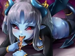 【モン娘】巨大な青肌女悪魔と超体格差セックス?下半身ごと捕食フェラされて.....!?