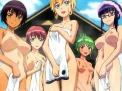 【ふたなり・レズ】フタナリ専用の温泉旅館!?露天風呂で早速おっぱじめてザーメン風呂の出来上がりwww