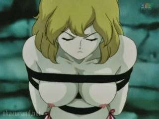 【ルパン三世】不二子ちゃんが拷問受けておっぱい丸出しにされて全裸放置www