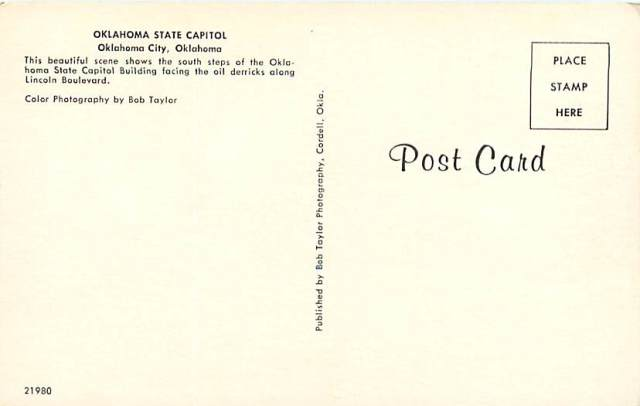 Oklahoma State Capital card back