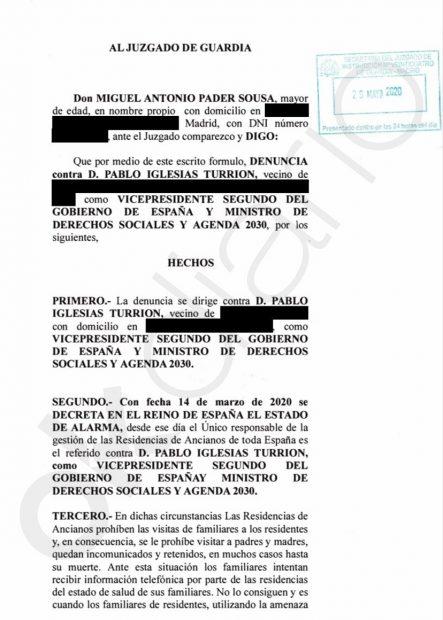Primera denuncia ciudadana contra Pablo Iglesias por «homicidio imprudente» en las residencias