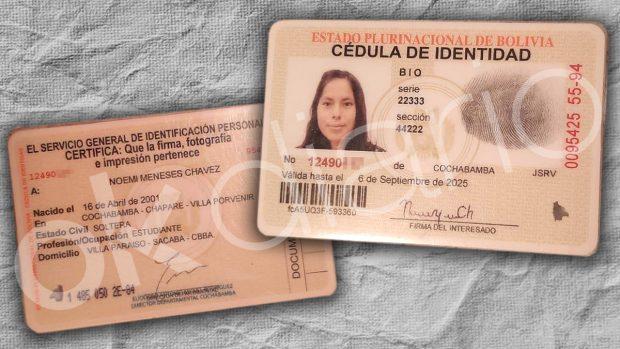 Carnet de identidad de Noemí Meneses Chávez, presunta pareja de Evo Morales.