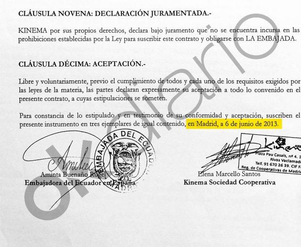 Pagos de la Embajada de Ecuador a la cooperativa Kinema en 2013 firmados por Aminta Buenaño.