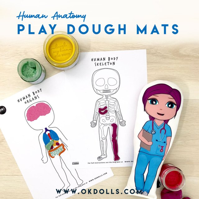 free printable Anatomy playdough mats by OK!Dolls