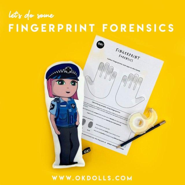 Fingerprint Forensics activity for kids with OK!Dolls