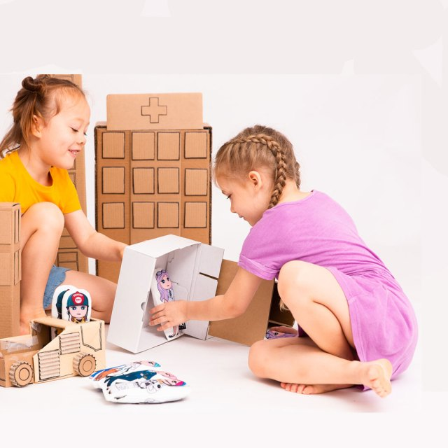 Two girls playing with plush dolls by OK!Dolls