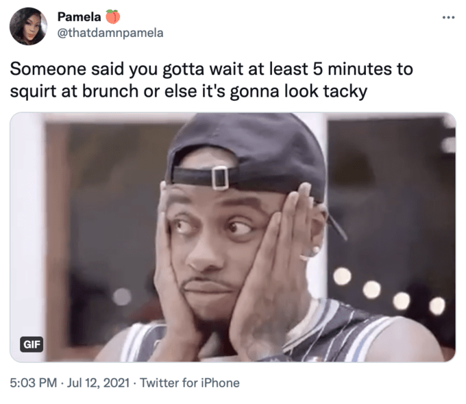 Pamela @thatdamnpamela Someone said you gotta wait at least 5 minutes to squirt at brunch or else it's gonna look tacky GIF 5:03 PM · Jul 12, 2021 · Twitter for iPhone 365 Days Forehead Photograph Eyebrow Human Jaw Eyelash Gesture Font Line Happy Adaptation Screenshot
